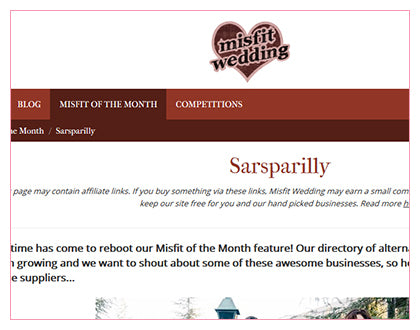 Misfit Wedding Feature: Sarsparilly
