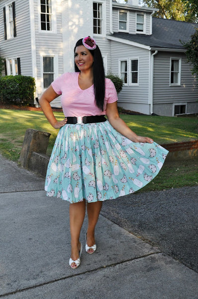 Pinup style skirt in a kitsch fun print handmade vintage style in Australia