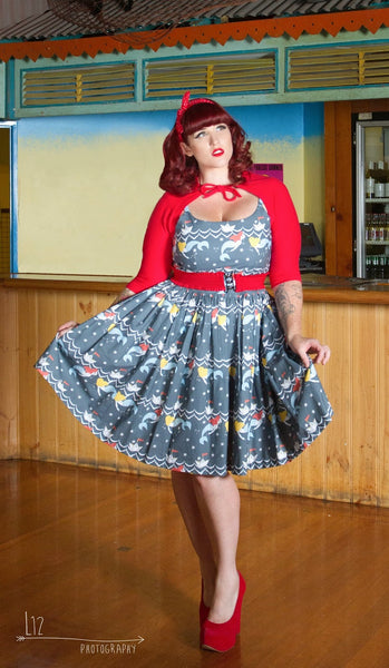 Look at the Stars mermaid print pinup style vintage dress