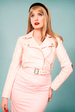 Veronica Biker Jacket in Pastel Pink