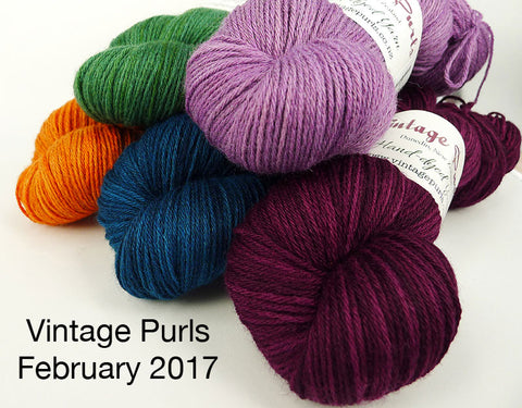 Vintage Purls yarn pile - February 2017 Indie dyer