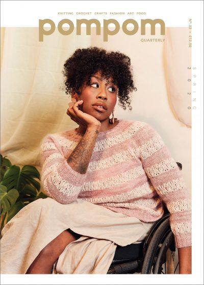 Pom Pom Quarterly - Spring 2020 / Issue 32 - a woman in a wheelchair wears a dusty pink and cream stripe yoke sweater