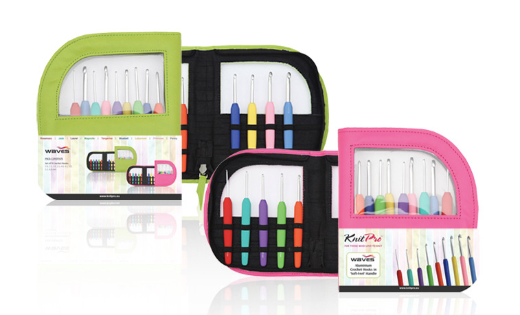 Knit Pro Waves Crochet Hook Set - multicoloured crochet hooks in a green or pink case