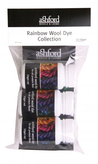 Ashford rainbow wool dye set - 50g