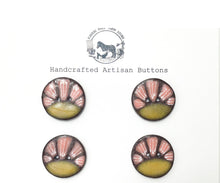 Load image into Gallery viewer, Black Clay Ceramic Buttons - Mustard and Coral Flower - 4 Pack