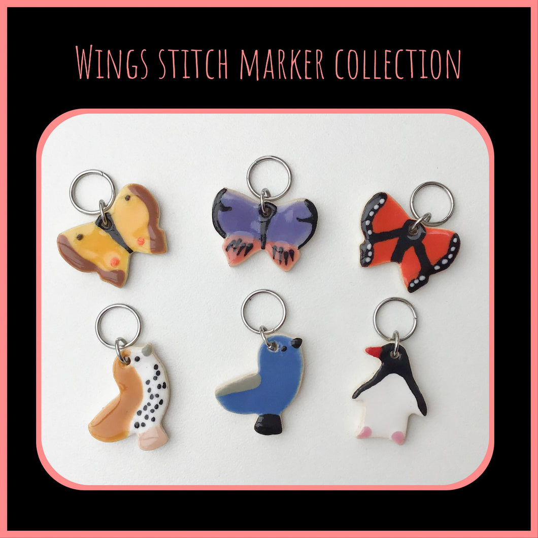 Wings Stitch Marker Collection: Song Birds, Penguins, & Butterflys