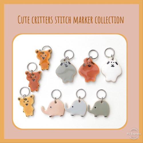 Cute Critters Stitch Marker Collection: Sheep, Elephants, & Bears Knitting Stitch Place Marker