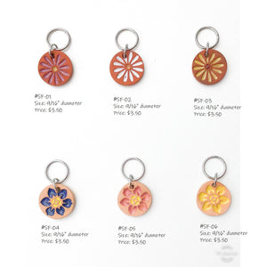 Stamped Flowers Stitch Marker Collection: Sweet Floral Blooms Embedded in Clay