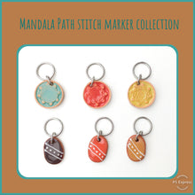 Load image into Gallery viewer, Mandala Path Stitch Marker Collection: Mandala Impressions and Simple Pattern on Clay
