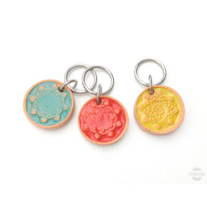Mandala Path Stitch Marker Collection: Mandala Impressions and Simple Pattern on Clay