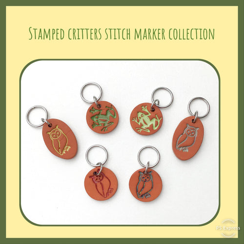 Stamped Critters Stitch Marker Collection: Owls & Frogs Stamped in Clay