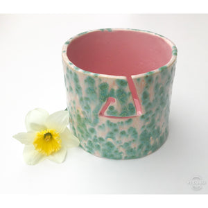 Color Burst Yarn Bowl - Turquoise & Pink - Handcrafted Ceramic Yarn Bowl