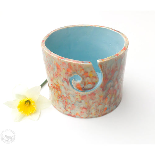 Color Burst Yarn Bowl - Aqua, Red, Orange & Yellow - Handcrafted Ceramic Yarn Bowl