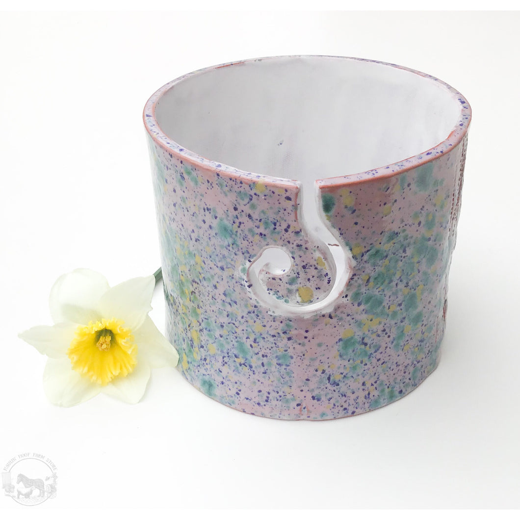 Color Burst Yarn Bowl - Gold, Blue, Pink, & Green - Handcrafted Ceramic Yarn Bowl