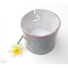 Load image into Gallery viewer, Color Burst Yarn Bowl - Gold, Blue, Pink, & Green - Handcrafted Ceramic Yarn Bowl