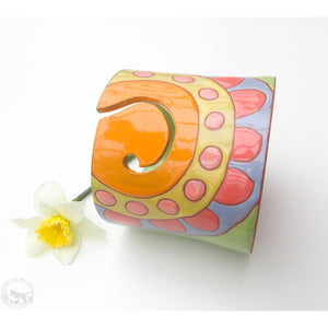 Quilted Bloom Yarn Bowl - Yellow, Green, Orange, Pink, & Blue - Handcrafted Ceramic Yarn Bowl