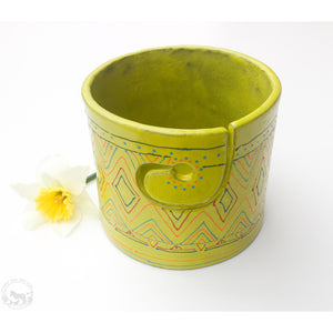Tribal Print on Chartreuse Yarn Bowl - A Colorful Print in Orange, Red, Blue, & Green on a Yellow-Green Textured Glaze - Handcrafted Ceramic Yarn Bowl Crafted in Black Clay
