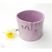 Cargar imagen en el visor de la galería, Light Purple Ceramic Yarn Bowl - Beaded Glaze Pattern - Mint Green, Purple, Aqua, Pink, & Rose