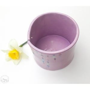Light Purple Ceramic Yarn Bowl - Beaded Glaze Pattern - Mint Green, Purple, Aqua, Pink, & Rose