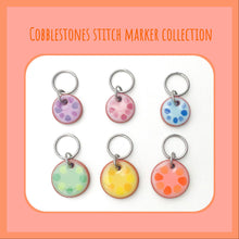 Cargar imagen en el visor de la galería, Cobblestones Stitch Marker Collection: Simple Circles lined with Color Coordinating Dots