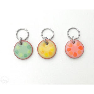 Cobblestones Stitch Marker Collection: Simple Circles lined with Color Coordinating Dots