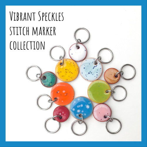 Vibrant Speckles Stitch Marker Collection: Vibrant Colors with Speckles Throughout