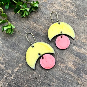 Large Crescent and Circle Earrings: Ceramic Earrings in Golden Yellow and Coral