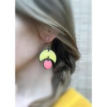Load image into Gallery viewer, Large Crescent and Circle Earrings: Ceramic Earrings in Sky Blue and Soft Yellow