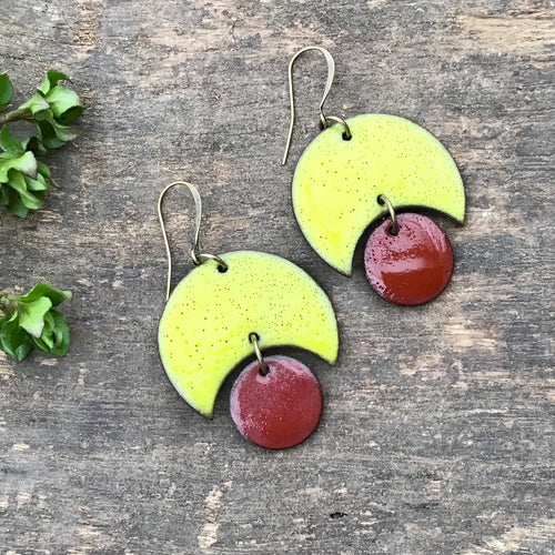 Large Crescent and Circle Earrings: Ceramic Earrings in Chartreuse and Red-Brown