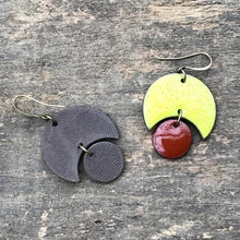Load image into Gallery viewer, Large Crescent and Circle Earrings: Ceramic Earrings in Chartreuse and Red-Brown
