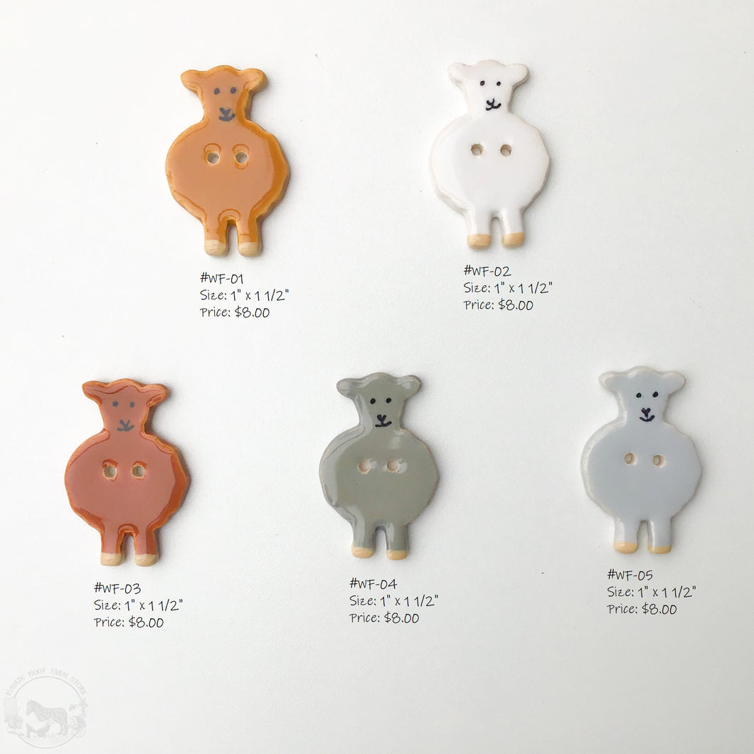 Wooly Friends Button Collection: Artisian Ceramic Sheep Buttons - Buttons for Sheep Lovers