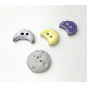 Moons Button Collection: Artisian Ceramic Buttons - Crescent & Full Moon Decorative Buttons