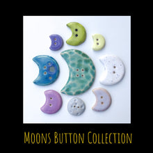 Load image into Gallery viewer, Moons Button Collection: Artisian Ceramic Buttons - Crescent & Full Moon Decorative Buttons