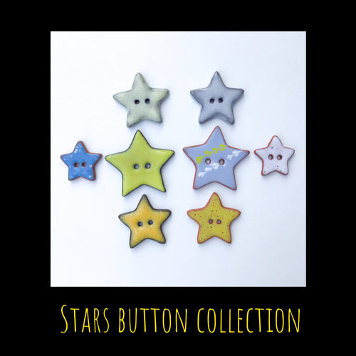 Stars Button Collection: Artisian Ceramic Buttons - Decorative Star Buttons