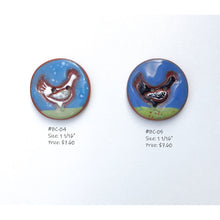 Load image into Gallery viewer, Backyard Chickens Button Collection: Artisian Ceramic Buttons with Chickens- Decorative Chicken Buttons