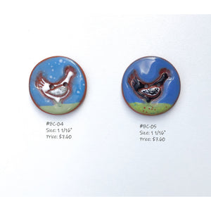 Backyard Chickens Button Collection: Artisian Ceramic Buttons with Chickens- Decorative Chicken Buttons