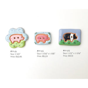 Pretty Pigs Button Collection: Ceramic Pig Buttons - Farm Animal Buttons (ws-162)