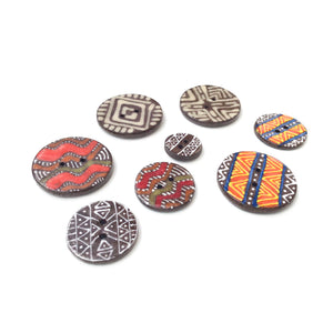Tribal Button Collection: Simple Design and Contrasting Colors in African Motif