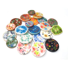 Load image into Gallery viewer, Color Burst Button Collection: Colorful Ceramic Buttons with a Tie Dye Motif