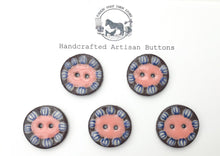 Load image into Gallery viewer, Black Clay Ceramic Buttons - Mustard and Coral Flower - 5 Pack