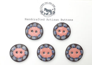 Black Clay Ceramic Buttons - Mustard and Coral Flower - 5 Pack