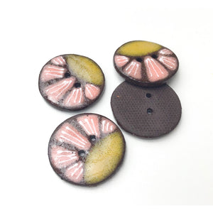 Black Clay Ceramic Buttons - Mustard and Coral Flower - 4 Pack