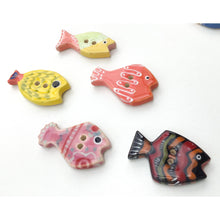 Load image into Gallery viewer, Limited Edition School of Fish Button Collection: Colorful Ceramic Fish Buttons with Detailed Designs