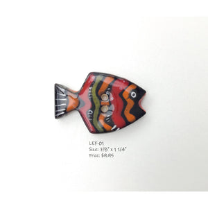 Limited Edition School of Fish Button Collection: Colorful Ceramic Fish Buttons with Detailed Designs