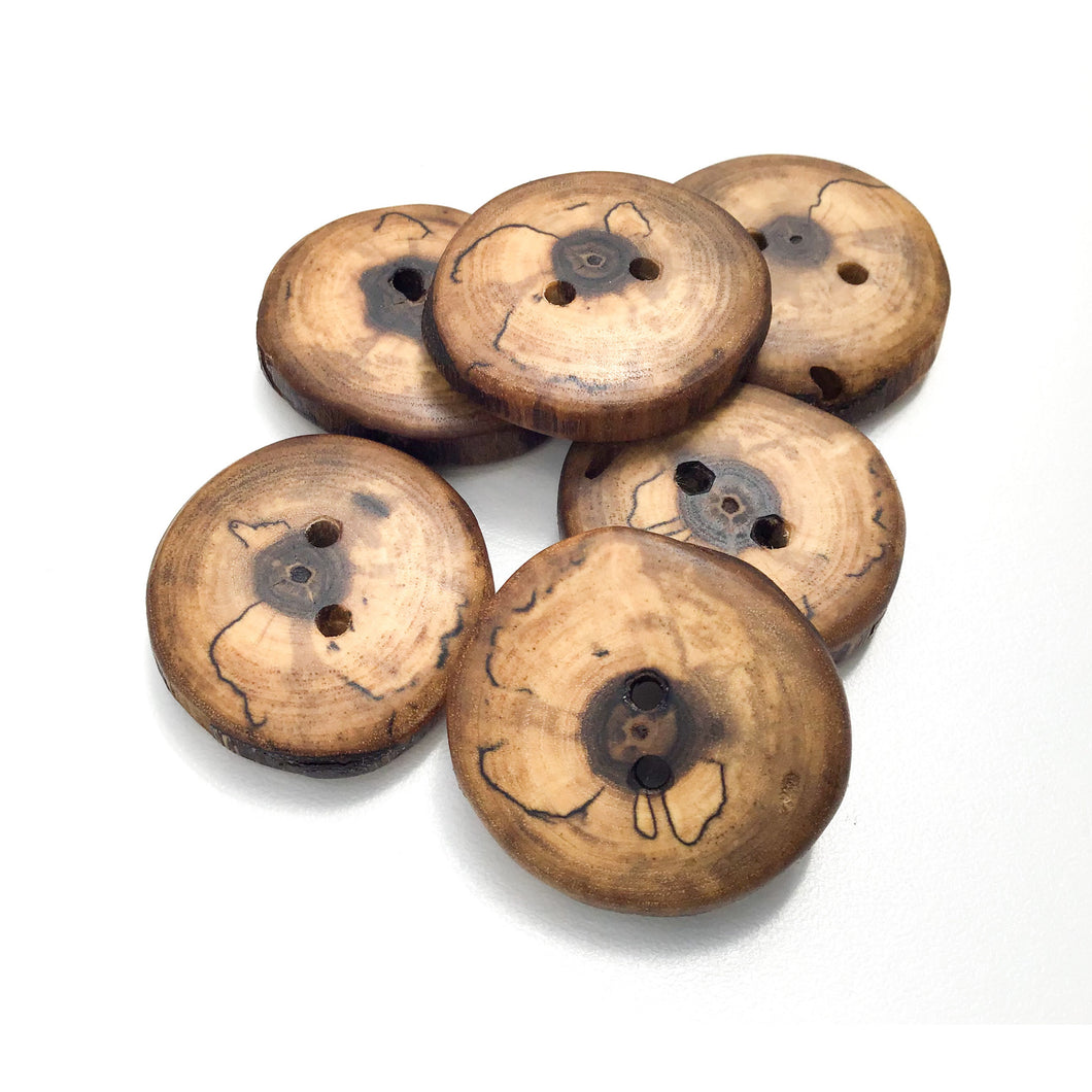 Spalted Black Walnut Wood Buttons - 1 1/4
