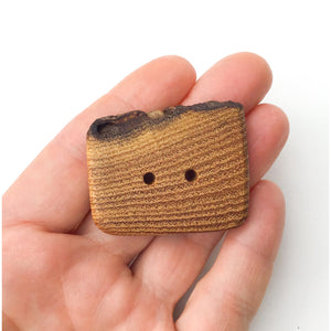 "Live Edge Black Locust Wood Button - 1 5/8"" x 1 1/4"" Large Wooden Button"