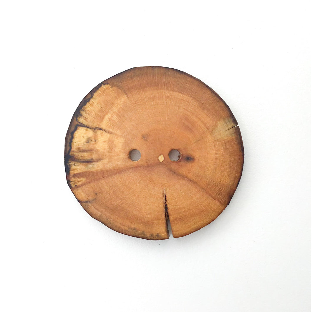 Extra Large Spalted Maple Wood Button - 1 7/8
