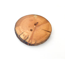 "Load image into Gallery viewer, Extra Large Spalted Maple Wood Button - 1 7/8"" Maple Wood Button -2 hole"