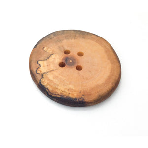 "Extra Large Spalted Maple Wood Button - 1 7/8"" Maple Wood Button -4 hole"