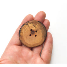 "Load image into Gallery viewer, Extra Large Spalted Maple Wood Button - 1 7/8"" Maple Wood Button -4 hole"